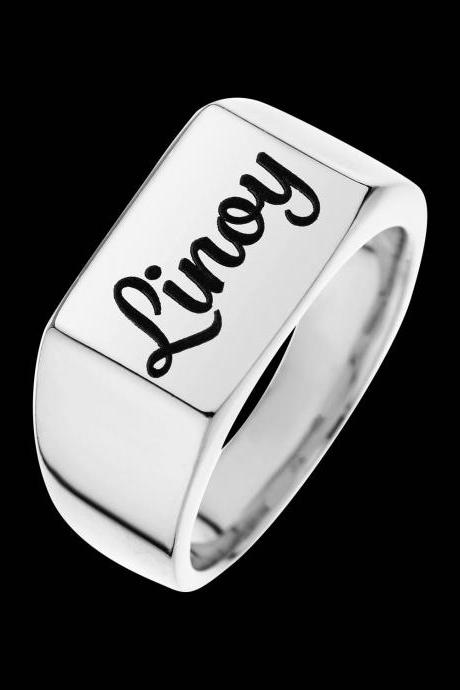 Personalized Ring - Custom Ring - Engraved Ring - Personalized Jewelry - Personalized Gift - Personalized Name Ring - Sterling Silver Name Ring - Personalized Signet Ring