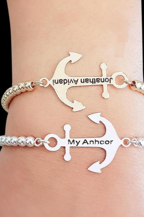 Personalized Anchor Bracelet - Personalized Bracelet - Custom Bracelet - Engraved Bracelet - Personalized Jewelry - Personalized Gift - Personalized Name Bracelet - Gold Name Bracelet