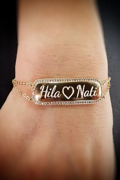 Personalized Bracelet - Custom Bracelet - Engraved Bracelet - Personalized Jewelry - Personalized Gift - Personalized Name Bracelet - Gold Name Bracelet
