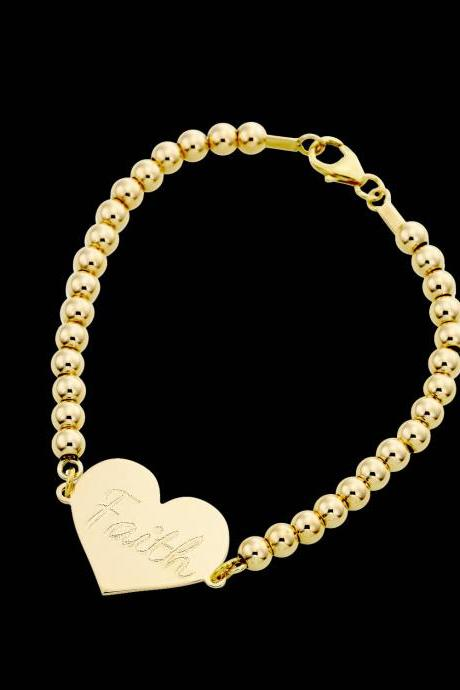 Personalized Bracelet - Custom Bracelet - Engraved Bracelet - Personalized Jewelry - Personalized Gift - Personalized Name Bracelet - Gold Name Bracelet - Personalized Heart Bracelet